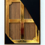 <p><strong>Coating: Solidified surface, chrome optics gold, sealed with clear coat<br /> </strong>Eckart Hahn, 2013, Goldchrom, Lack, Stoff, Nussbaum, 82 x 62 x 5 cm</p>