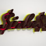 <p><strong>Coating: PS real metal steel, rust patina</strong><br /> Pietro Sanguineti, sinless, 2013 , 154 x 53 x 16 cm, aluminium, special lacquer, red acrylic mirror</p>
