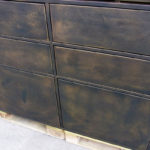 <p><strong>Furniture front, MDF, PS real metal coating brass, patinated</strong></p>