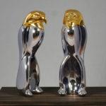<p><strong>Luigi Colani, Modell, Chrom-Optik-Beschichtung, gold lasiert</strong></p>