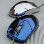 <p><strong>PC-Mäuse, ABS, Chrom-Optik-Beschichtung, blau lasiert</strong></p>