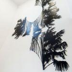 <p><strong>Coating: 2-coloured paint black/white, clear coat seal matt</strong><br /> Dorthe Goden, laser cuts from 2 mm sheet steel, Kunst am Bau, Justice Center Bad Kreuznach, 2. OG / 3. OG, 2017<br /> Photo by: Thorsten Arendt</p>